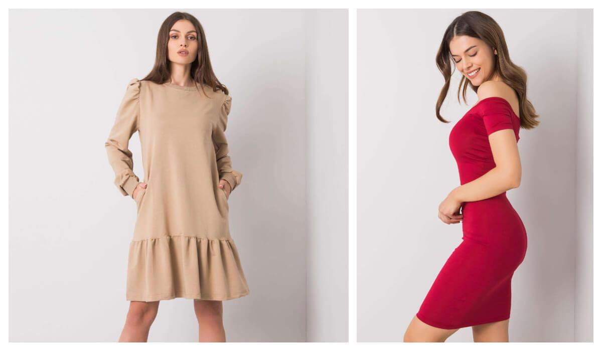 Dopasowana sukienka basic i rozkloszowana sukienka basic z falbaną
