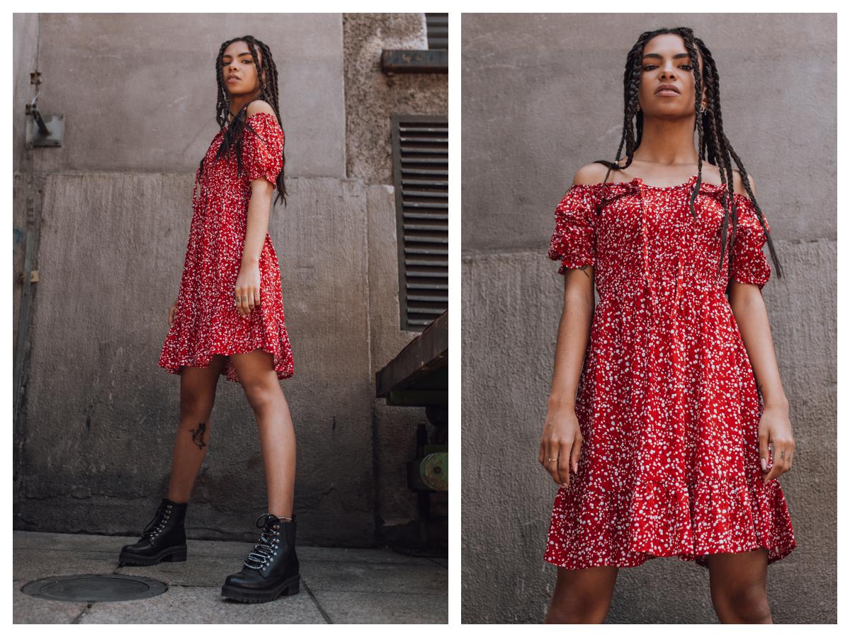 Czerwona sukienka hiszpanka mini