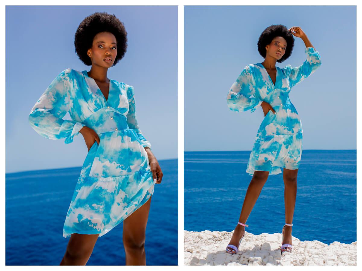 Niebieska sukienka na lato tie-dye