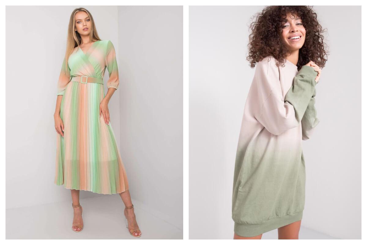 Dwie sukienki ombre na lato w odcieniach zieleni