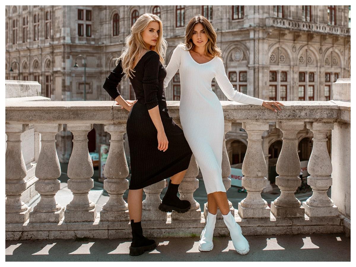 Dopasowane sukienki codzienne na jesień w kolorze białym i czarnym