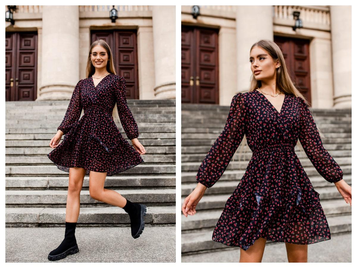 Sukienki z długim rękawem we wzory - hit sezonu